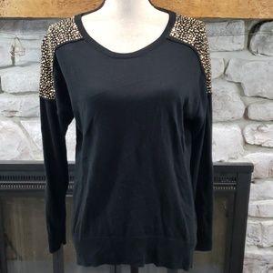 Michael Kors black gold stud shoulder sweater M